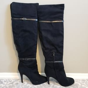 Aldo over-the-knee black faux suede boots Size 8.5